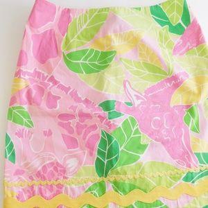 Lily Pulitzer sz 6 Giraffe Print Short Skirt Pink